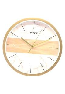 Relógio Parede Redondo Sortido Branco E Dourado- Imporiente