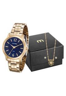 Kit De Relógio Analógico Mondaine Feminino + Brinco + Colar - 99017Lpmvde1K2 Dourado
