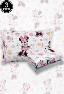 Jogo De Cama 3Pçs Solteiro Santista Infantil Disney Minnie Happy Cinza