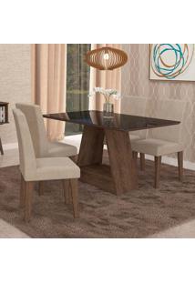 Conjunto De Mesa De Jantar Retangular Alana Com Vidro E 4 Cadeiras Milena Suede Bege E Preto