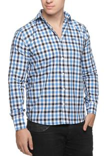 Camisa Alfaiataria Burguesia Quadriculada Branco/Preto/Azul Royal
