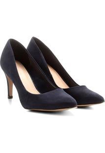 Scarpin Couro Shoestock Salto Alto Básico - Feminino-Marinho