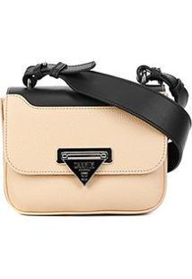 Bolsa Couro Carmim Mini Bag Silvana Transversal Feminina - Feminino-Preto+Areia