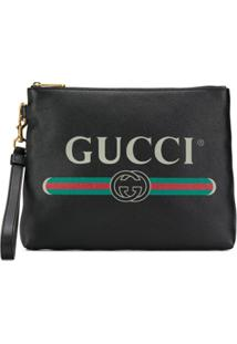 Gucci Gucci Print Leather Medium Portfolio - Preto