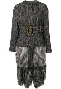 Elisabetta Franchi Faux-Fur Trimmed Coat - Preto