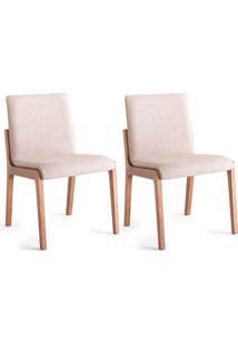 Conjunto Com 2 Cadeiras De Jantar Amelia Creme E Carvalho
