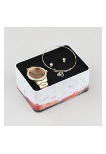 Kit De Relógio Analógico Condor Feminino + Brinco + Pulseira - Co2035Kwnk4M Dourado