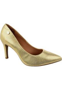 Scarpin Vizzano Malha Dourado Feminino - Feminino-Dourado