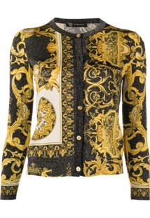 Versace Cardigan Com Estampa 'Signature' - Amarelo