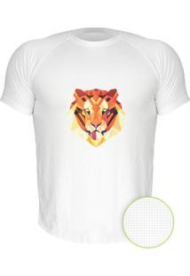 Camiseta Manga Curta Nerderia Tigre Geometrico Branco