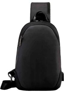 Mochila Bolsa Mala Anti Furto Cross Body Usb Tablet Notebook Preta