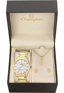 Kit Relógio Champion Com Acessórios - Feminino-Dourado