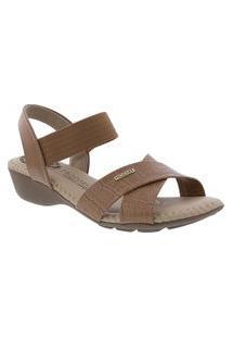 Sandalia Modare Ultraconforto Anabela Croco Caramelo