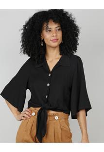 Camisa Feminina Cropped Com Amarração Manga Curta Preta