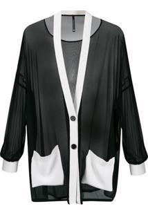 Pierantoniogaspari Cardigan Com Acabamento Translúcido - Preto