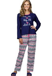 Pijama Longo Pointelle Demillus 85122 Marinho
