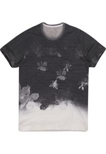 Camiseta Masculina Listrado Flores Degradê Off White