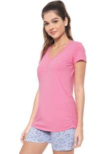 Pijama Malwee Liberta Estampado Rosa/Azul