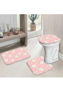 Jogo Tapetes Para Banheiro Pink Cute