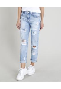 Calça Jeans Feminina Mom Pants Destroyed Azul Claro