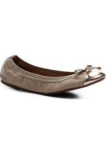 Sapatilha Shoestock Elástico Lurex - Feminino-Dourado