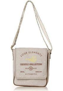 Bolsa Blue Bags Tiracolo Reciclada Bordado Água Feminina - Feminino-Nude