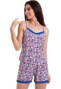 Pijama Verão Short Doll Colorido Com Renda Luna Cuore