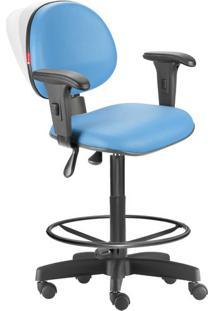 Cadeira Caixa Alta Ergonômica Nr17 Lisa Azul Céu