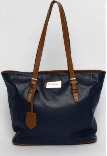 Bolsa Retangular Com Pespontos & Tag - Azul Marinho & Mmv Couros