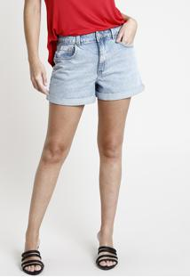 Short Jeans Feminino Mom Cintura Super Alta Com Barra Dobrada Azul Claro