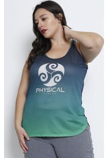 Regata Texturizada Degrade - Azul & Verde- Physical Physical Fitness