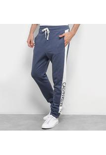 Calça Moletom Calvin Klein Jogger Masculina - Masculino-Azul