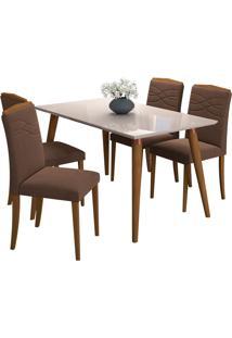 Conjunto De Mesa Para Sala De Jantar Adele Com 4 Cadeiras Vanessa? Cimol - Madeira / Offwhite / Chocolate