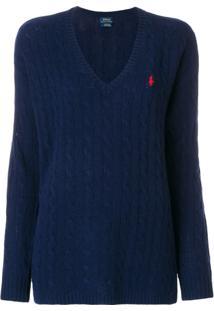 Farfetch. Polo Cashmere Trico Feminina Polo Ralph Lauren Kj Azul Marinho  Suéter ... 95ad4debe03