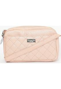 Bolsa Transversal Em Couro Com Textura Animal- Rosa Clardi Marlys