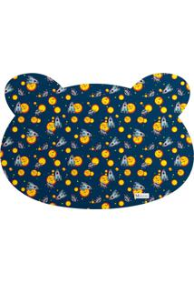 Tapete Pet Mdecore Urso Foguete Azul Marinho 54X39Cm