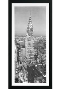 Quadro Em Madeira Com Vidro Cidades Empire State Building 27X54Cm