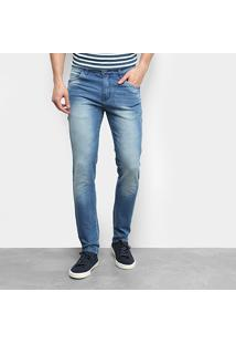 Calça Jeans Ecxo Skinny Estonada Masculina - Masculino-Azul