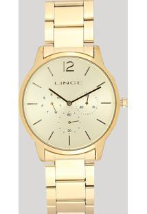 Relógio Analógico Lince Feminino - Lmgj087L C2Kx Dourado - Único