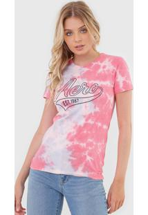 Camiseta Aeropostale Tie Dye Rosa/Azul - Rosa - Feminino - Algodã£O - Dafiti