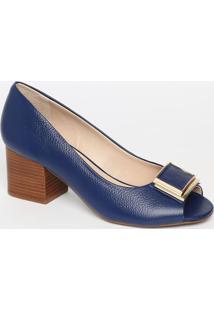 Peep Toe Em Couro - Azul Escuro- Salto: 6Cmjorge Bischoff