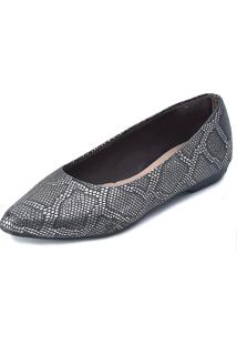 Sapatilha Promocional Scarpan Calçados Finos Cobra Preto Com Prata