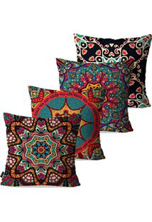 Kit Com 4 Capas Para Almofadas Pump Up Decorativas Coloridas Mandalas 45X45Cm