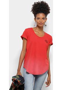 Camiseta Colcci Estampa Floral Feminina - Feminino-Vermelho