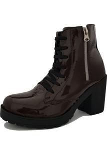 Bota Navit Shoes Tratorada Verniz Com Zíper Marrom Escuro