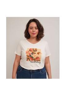 Blusa Em Algodão Com Estampa Bordada Folhagens Curve & Plus Size | Ashua Curve E Plus Size | Branco | Gg
