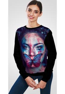 Blusa Moletom Ramavi Flanelado Butterfly Face Art Com Bolso - Kanui