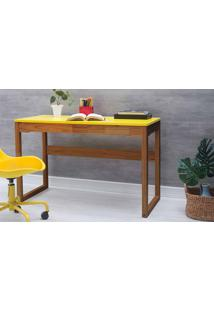 Escrivaninha Olga 121X51,3X75 Cm - Acabamento Verniz Capuccino E Tampo Amarelo