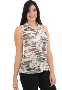 Camisa Energia Fashion Estampada Bege
