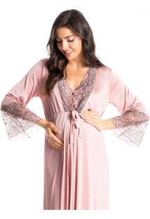 Robe Maternidade Longo Com Detalhe Em Renda Lollipop